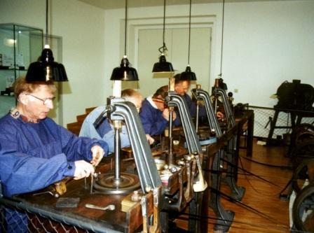 Diamond cutters at work at the Diamond Cutter Museum Brücken