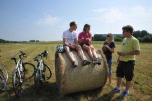 Bikers taking a break along Glan-Blies Bike Trail