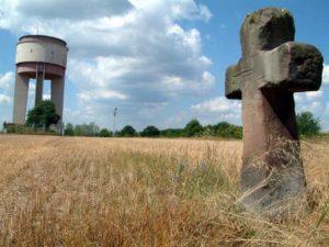 Water Tower Ramstein and sandstone cross called Kunzen Kreuz